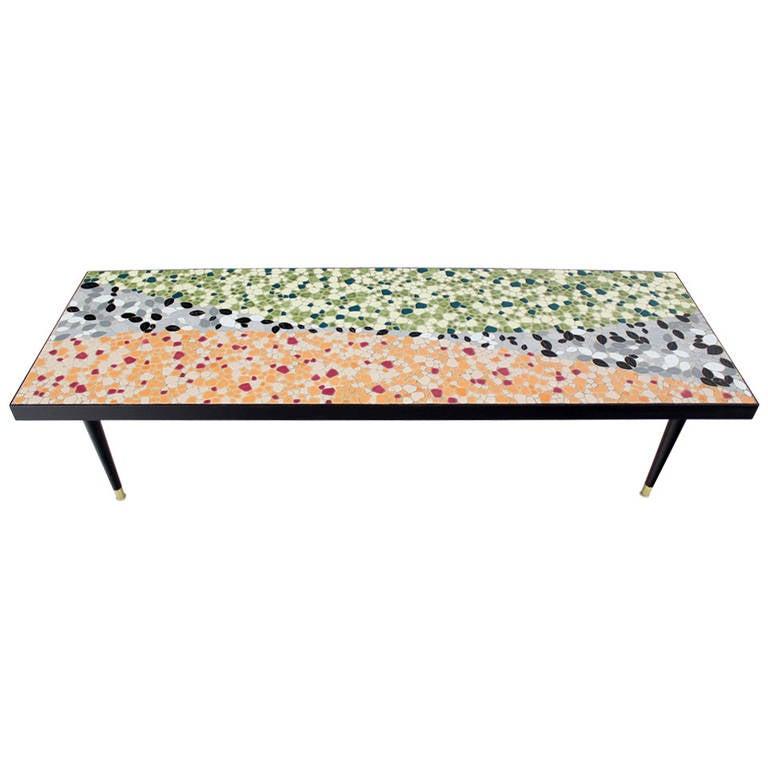 Mid-Century Modern Art Mosaic Top, Long Rectangular Table