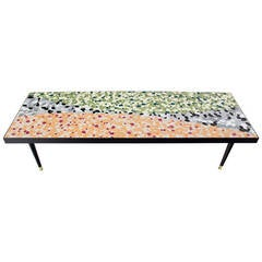 Mid-Century Modern Art Mosaic Top Long Rectangular Table