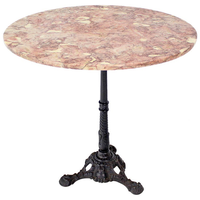 cast iron base marble top pedestal table at 1stdibs
