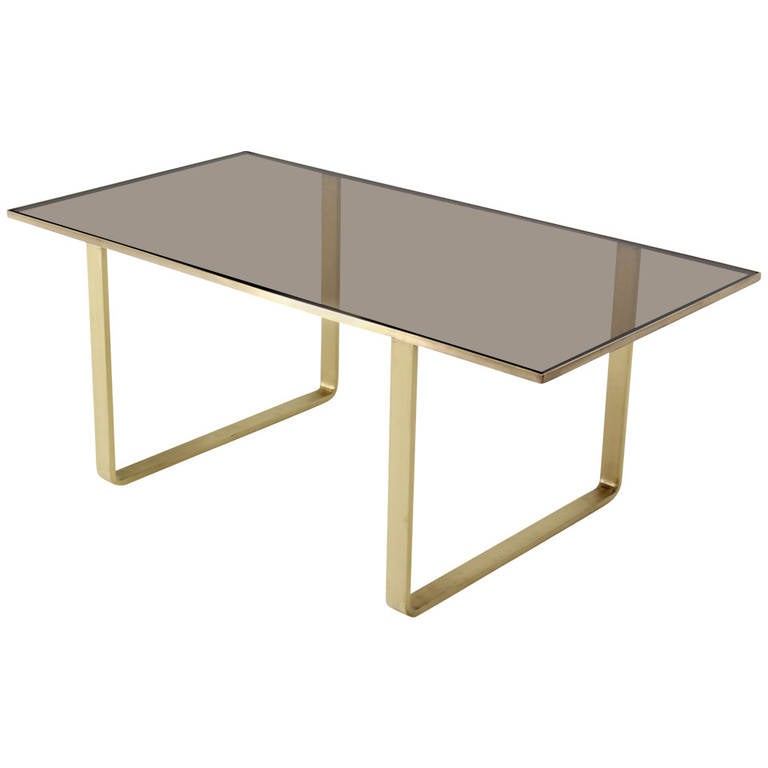 Solid Brass And Smoked Glass Mid Century Modern Rectangle Coffee Table At 1stdibs