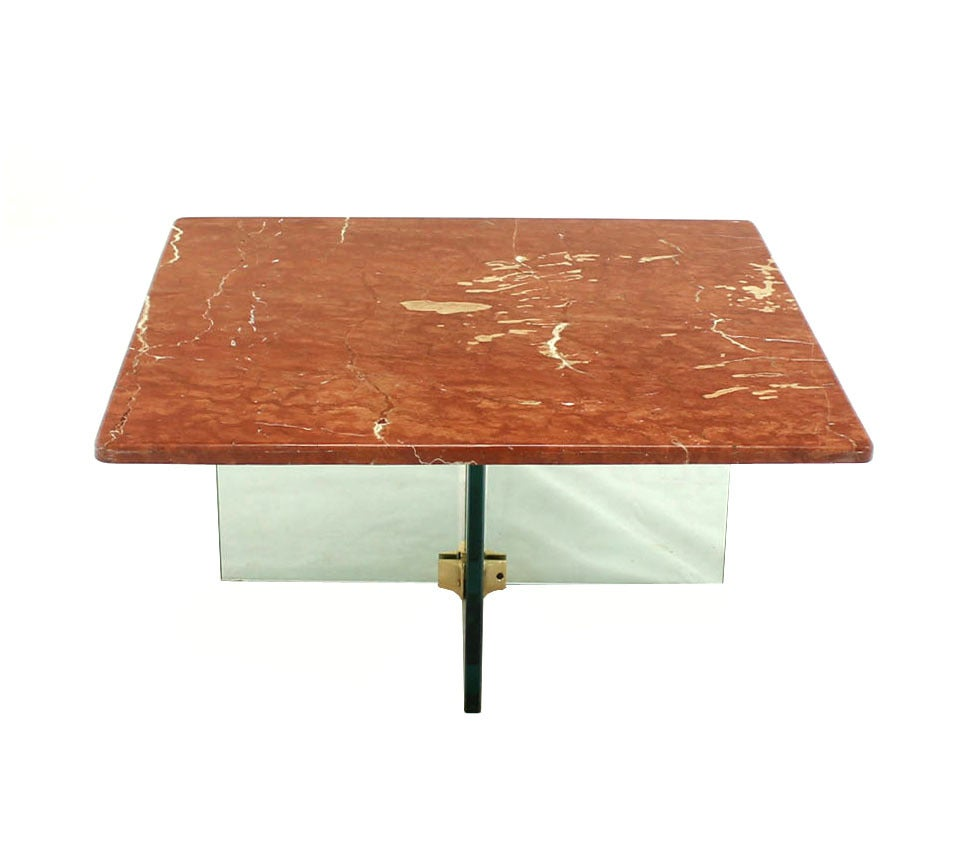 Marble Glass Top Coffee Table: Glass X Cross Base Coffee Table W/ Marble Top For Sale At
