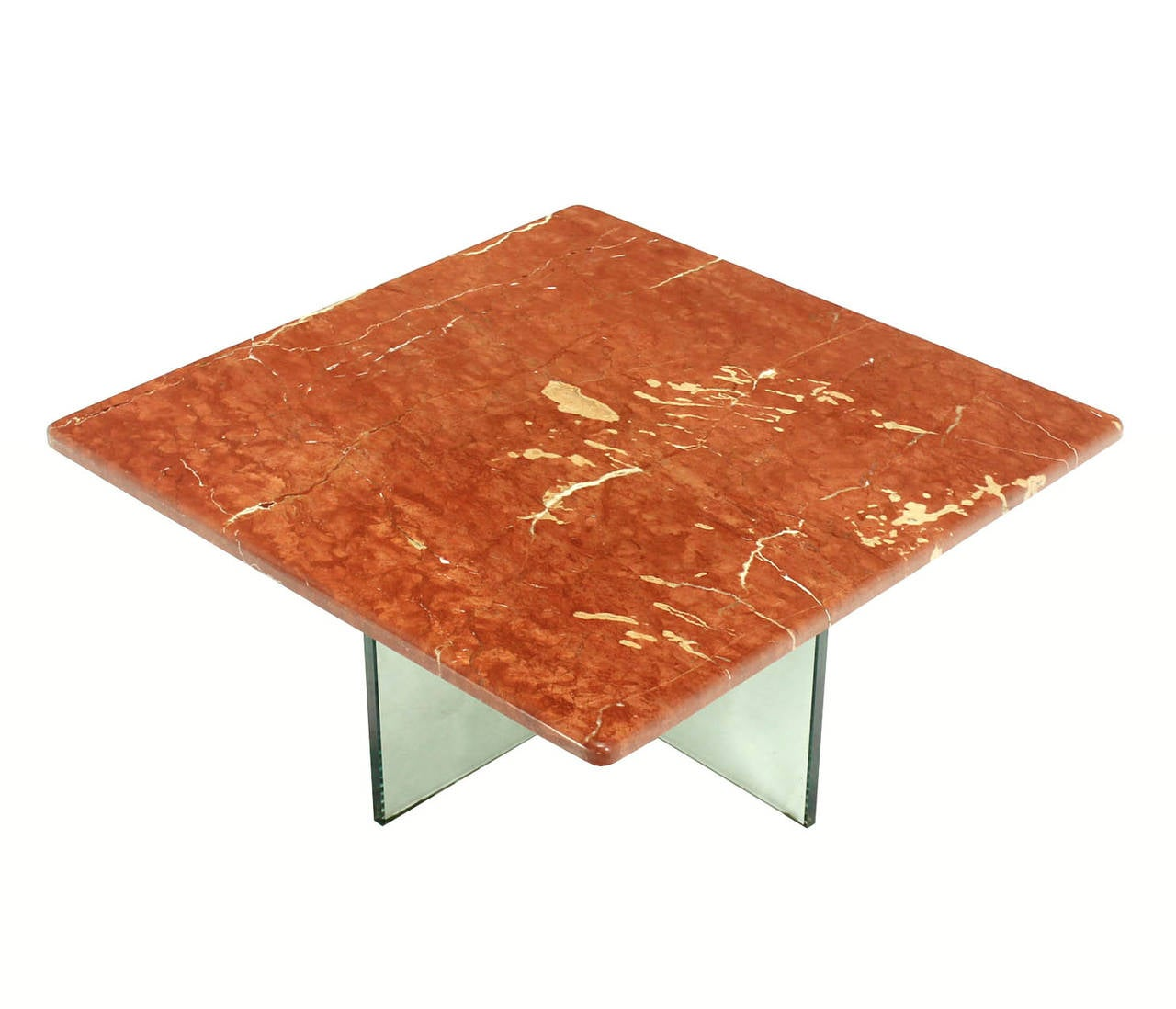 Coffee Table Bases For Marble Tops: Glass X Cross Base Coffee Table W/ Marble Top For Sale At
