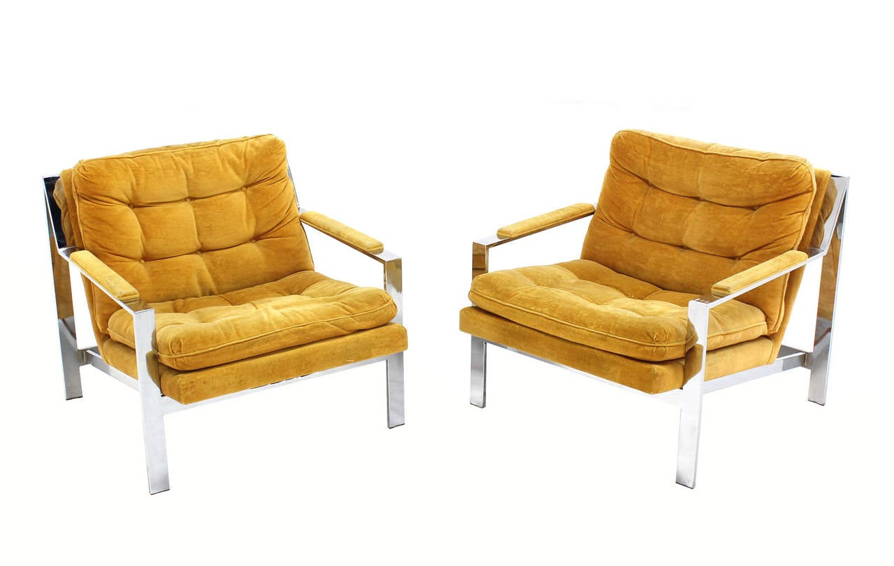 Pair of mid century modern lounge chairs by baughman at for Mid century modern club chairs