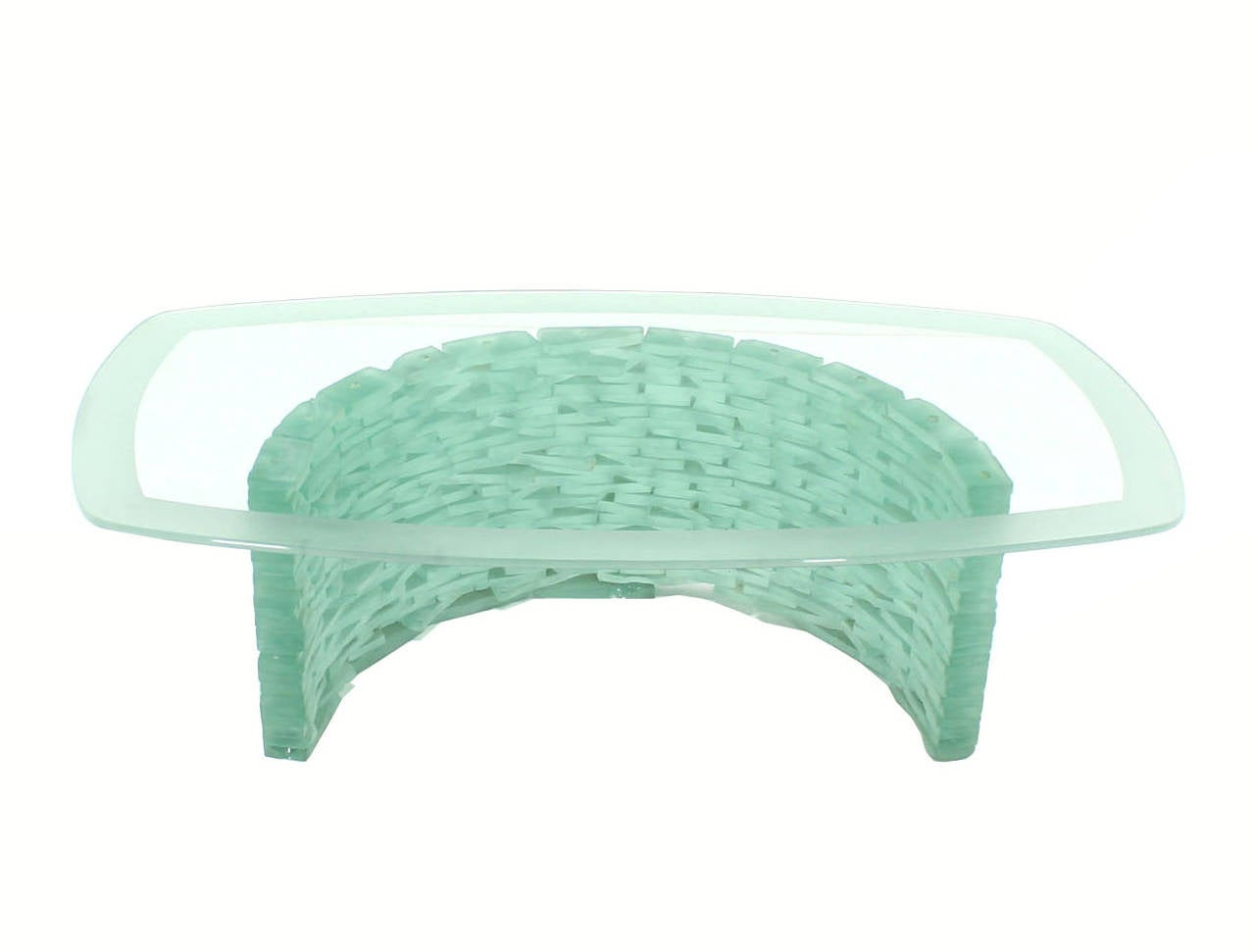 Sculptural Glass C Shape Base Coffee Table Stacked Ice Looking Glass Base For Sale 4