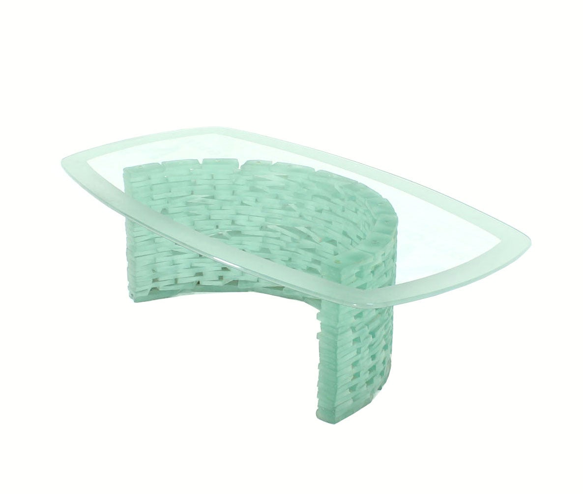 Sculptural Glass C Shape Base Coffee Table Stacked Ice Looking Glass Base In Excellent Condition For Sale In Rockaway, NJ