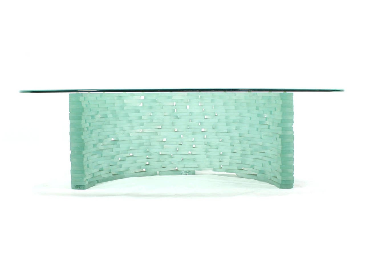 Sculptural Glass C Shape Base Coffee Table Stacked Ice Looking Glass Base For Sale 1