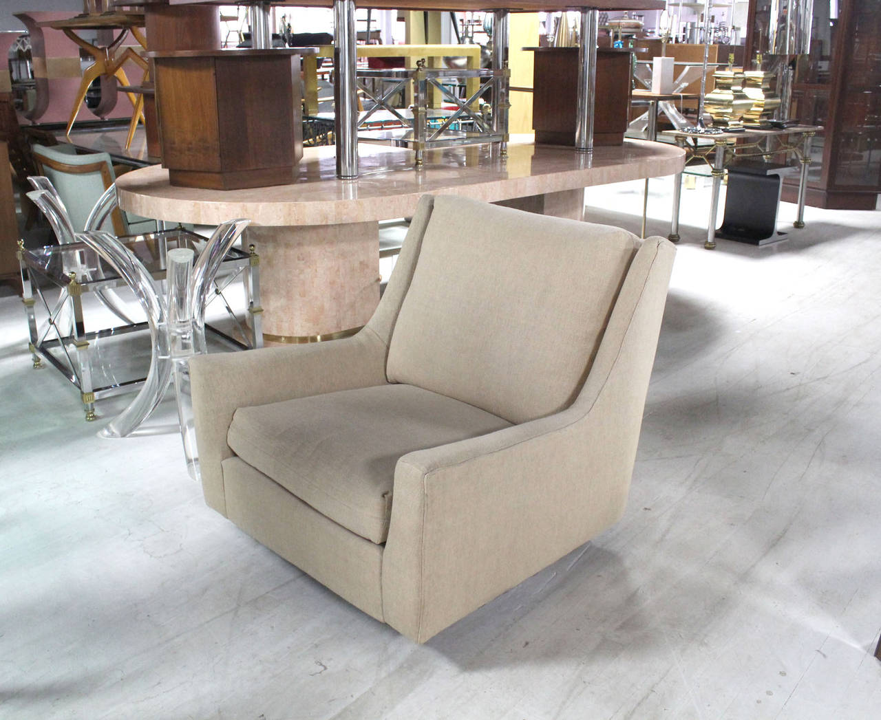 Mid-Century Modern Large Lounge Chair on Walnut Frame Base  by Harvey Probber For Sale