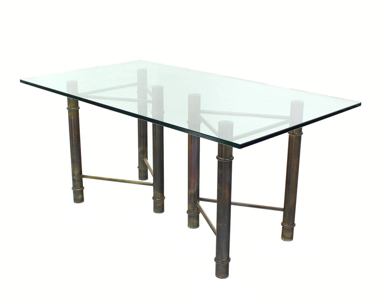 Mastercraft Solid Brass Faux Bamboo Base Glass Top Rectangle ...
