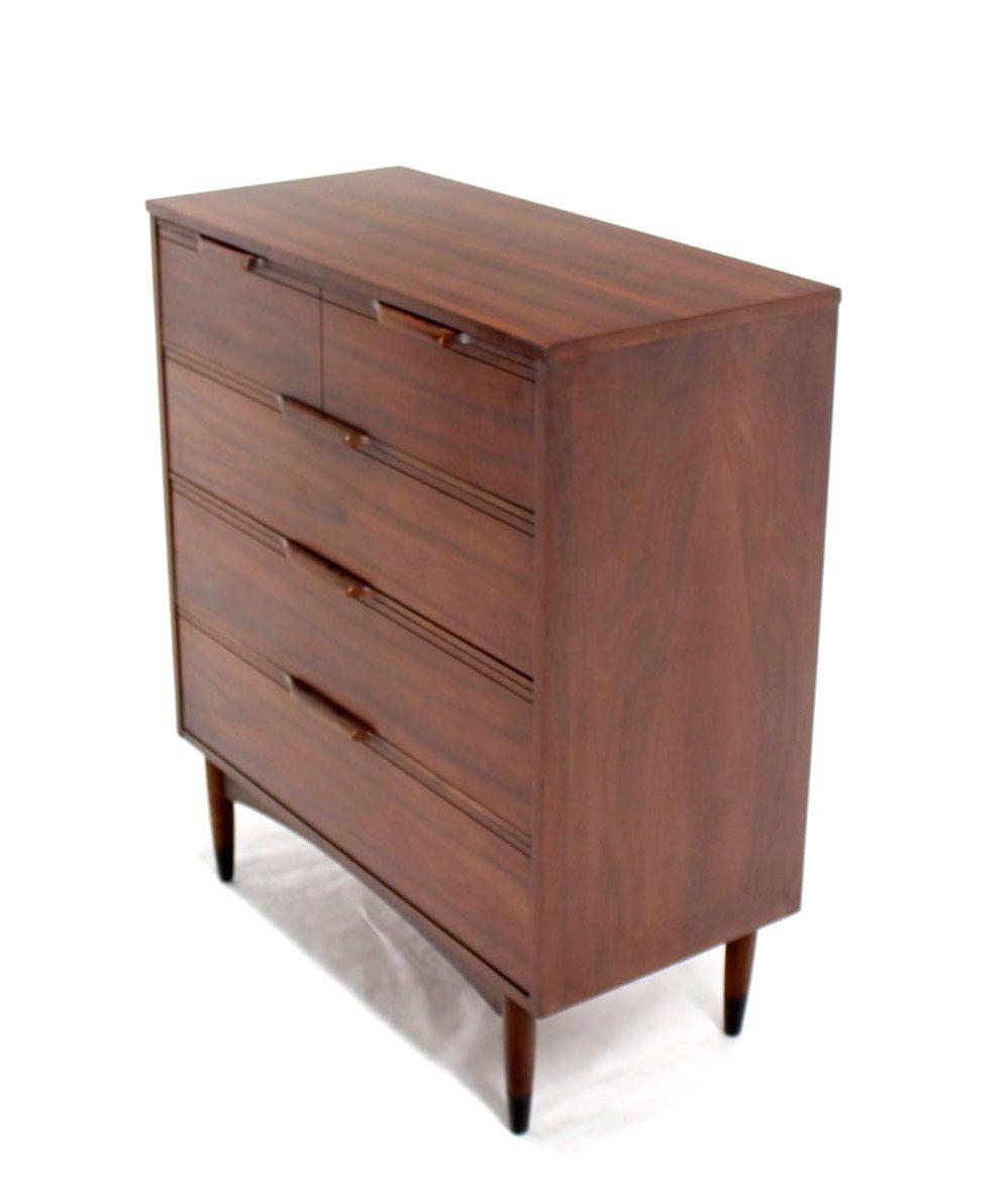 Mid Century Modern Walnut High Chest Dresser 4 Drawers At