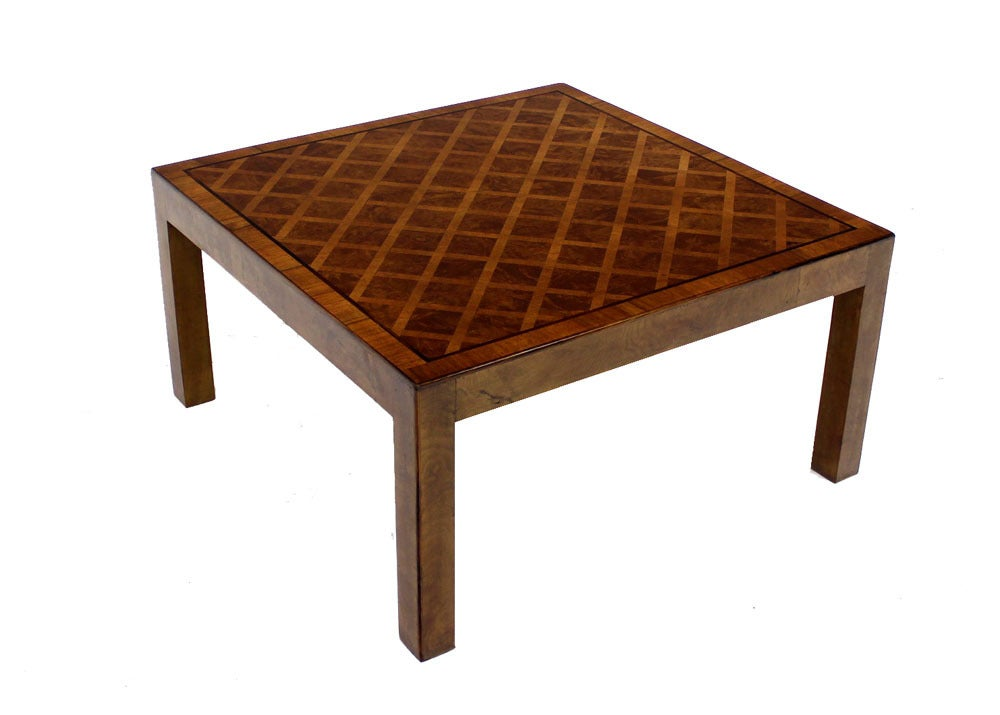 Marquetry Mid Century Modern Burl Walnut Rosewood Coffee Table At 1stdibs