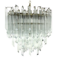 Camer Mid-Century Modern Murano Chandelier Glass Prisms Light Fixture