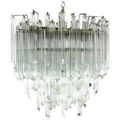 Camer Mid-Century Modern Murano Chandelier Glass Prisms Light Fixture
