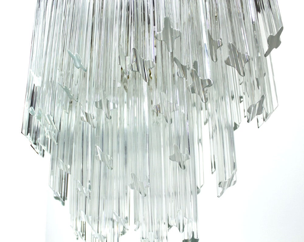 20th Century Camer Mid-Century Modern Murano Chandelier Glass Prisms Light Fixture For Sale