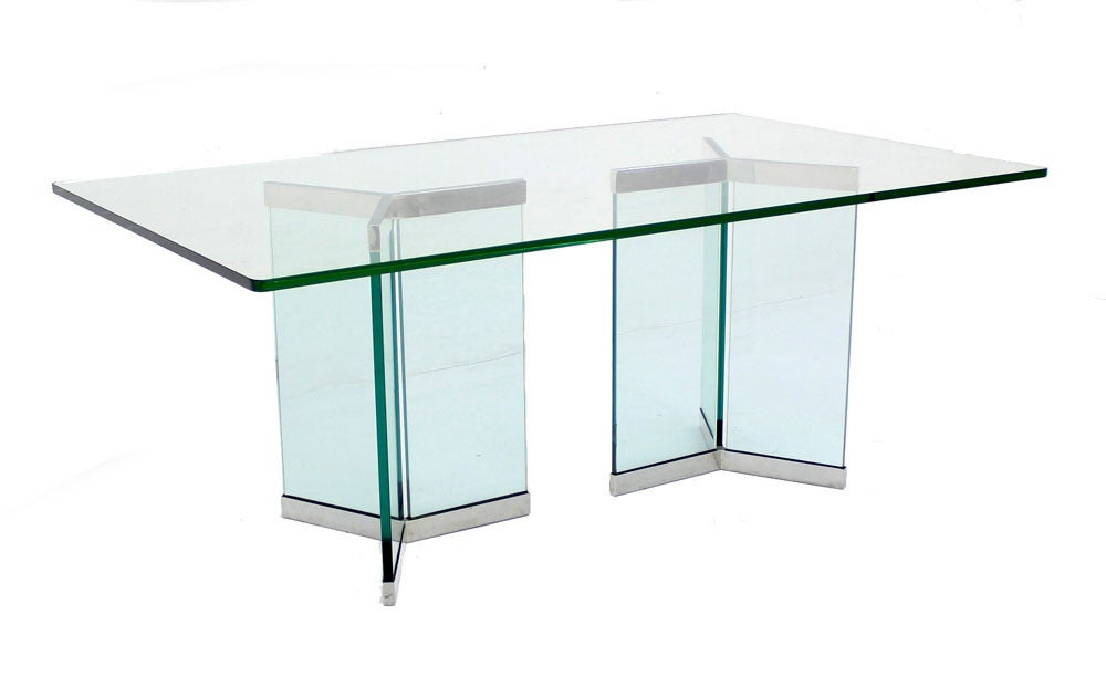 Pace Collection Mid Century Modern Glass Dining Table image 2