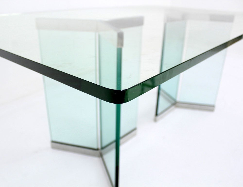 pace collection mid century modern glass dining table at