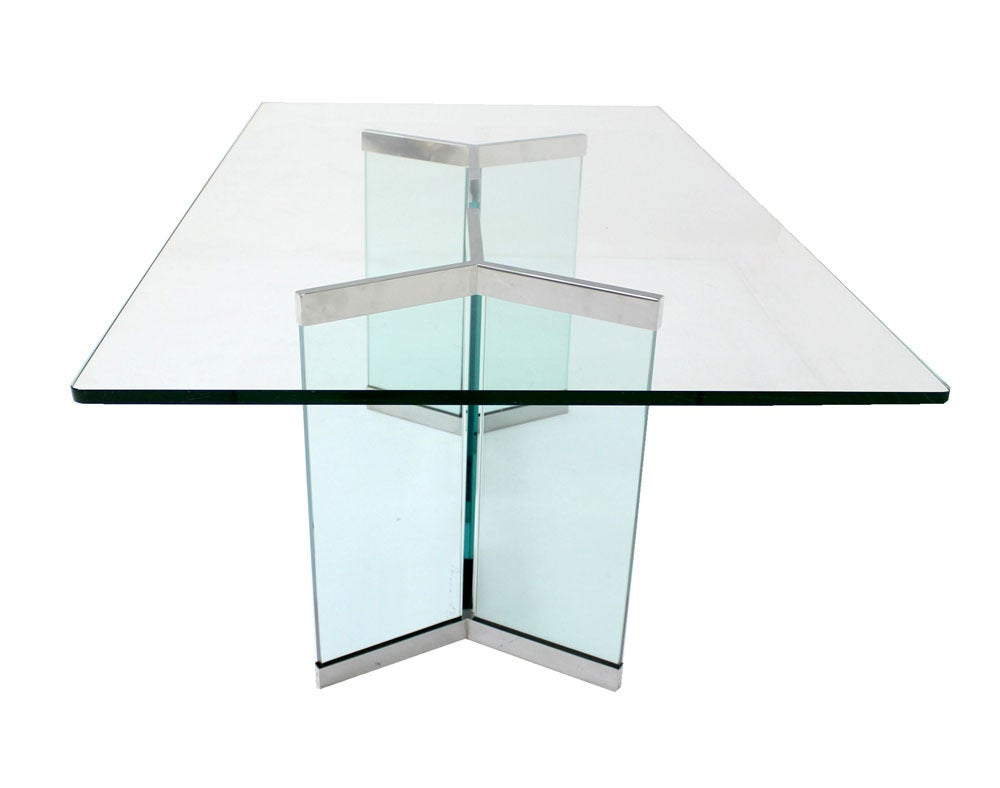 Pace Collection Mid Century Modern Glass Dining Table 8