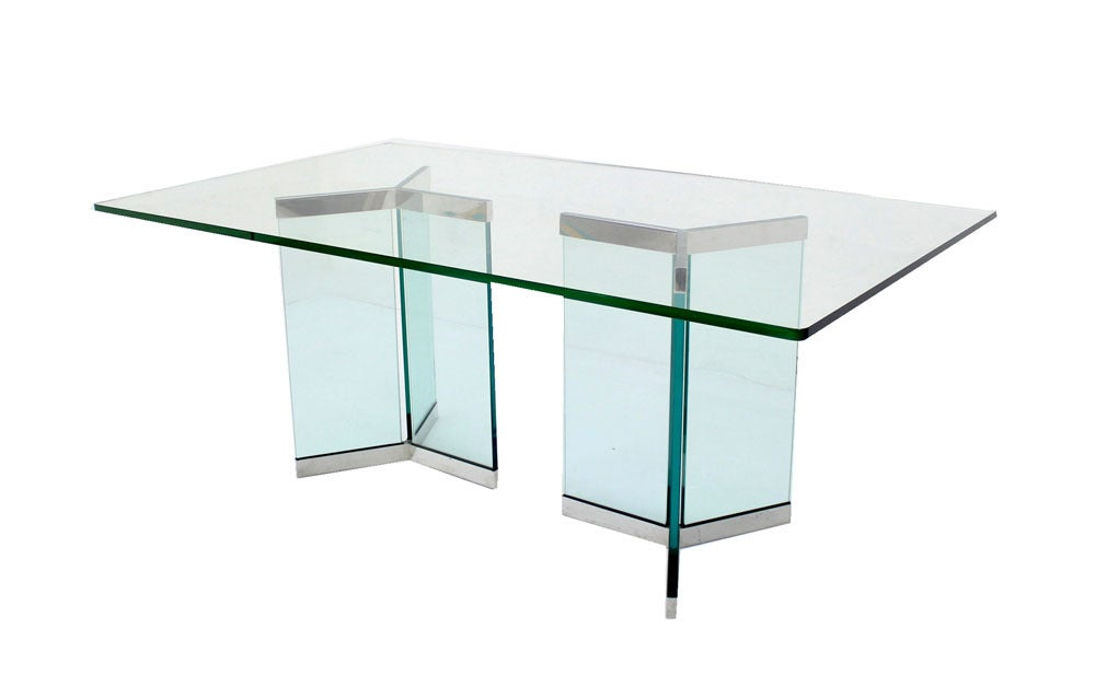 Pace Collection Mid Century Modern Glass Dining Table 9
