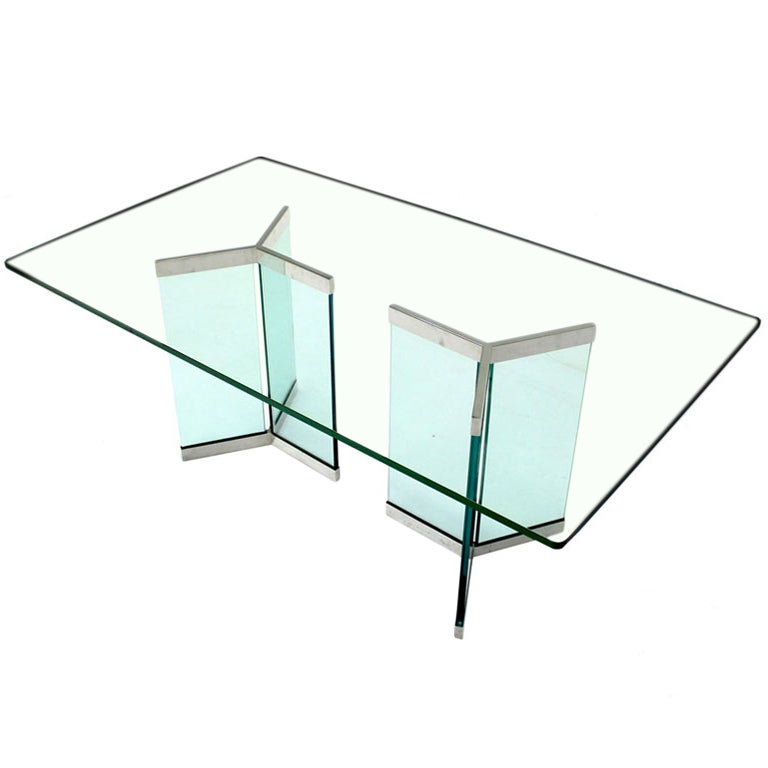 Pace Collection Mid Century Modern Glass Dining Table