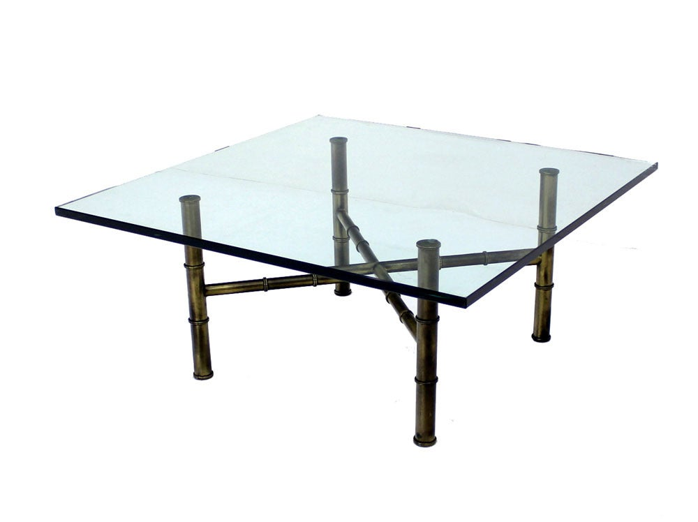 X Base Brass Faux Bamboo Square Glass Top Coffee Table For Sale At 1stdibs