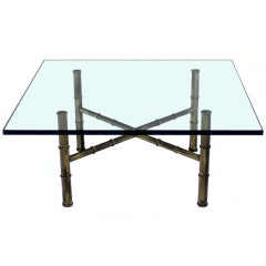 X Base Brass Faux Bamboo Square  Glass Top Coffee Table