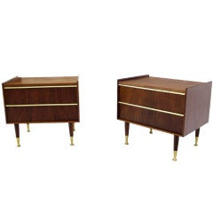 Pair of Mid-Century Modern Walnut Night Stands by Edmond Spence