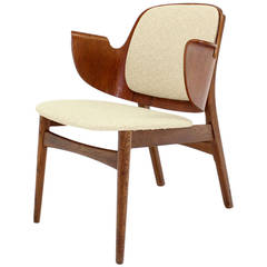 Mid-Century Modern Molded Plywood Barrel Back Armchair New Upholstery.