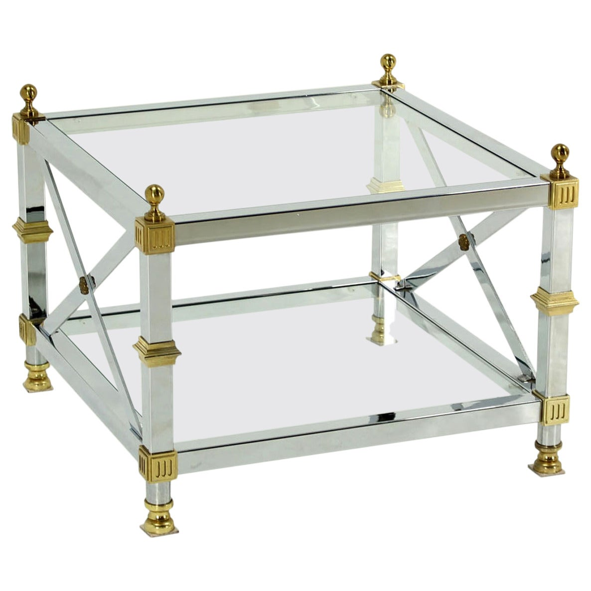 Tow Tier Glass Top Chrome Brass X Base Square Side Or End Table For Sale