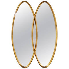 Dual Interlocking Oval Gold Frame Mirror