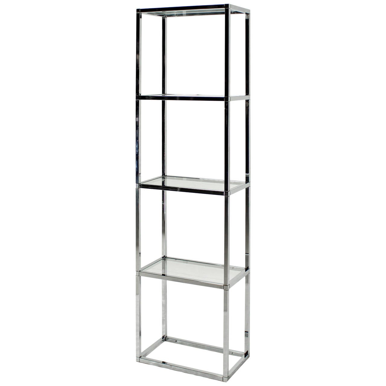Narrow and Tall Mid-Century Modern Chrome and Glass Etagere Shelf ...