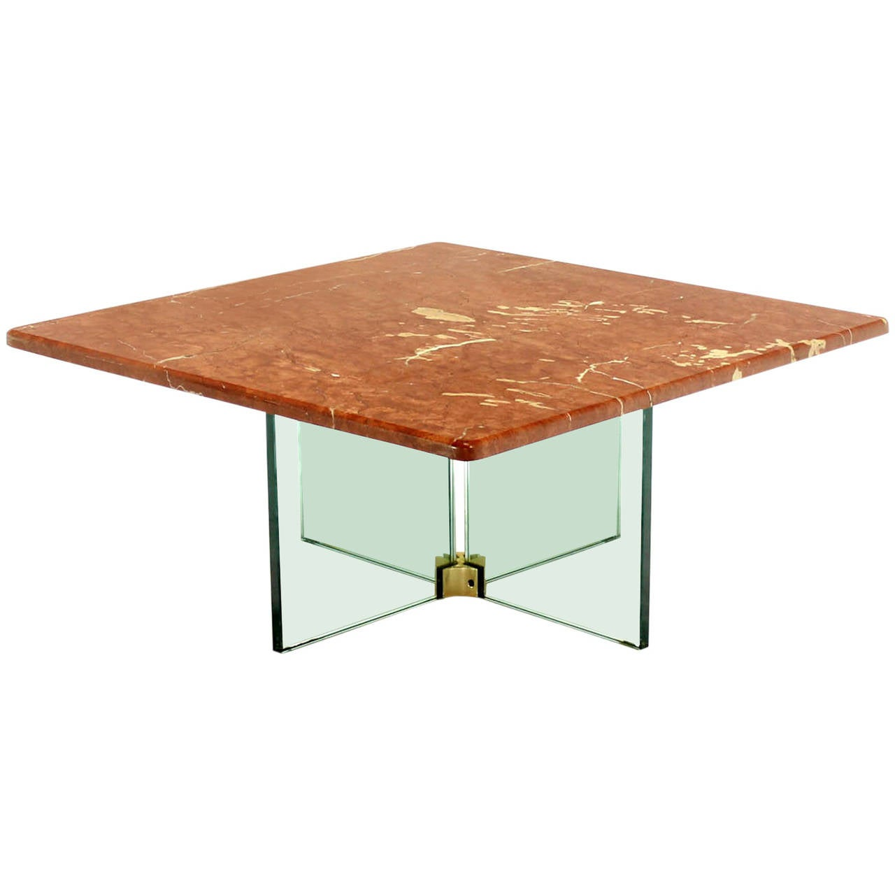 Glass x cross base coffee table w marble top for sale at 1stdibs Glass coffee table base