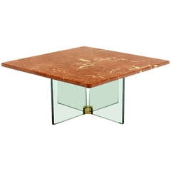 Glass X Cross Base Coffee Table w/ Marble Top
