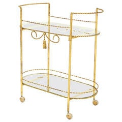 Two Tier Twisted Metal Rope Tassel Design Rolling Tea Cart Server