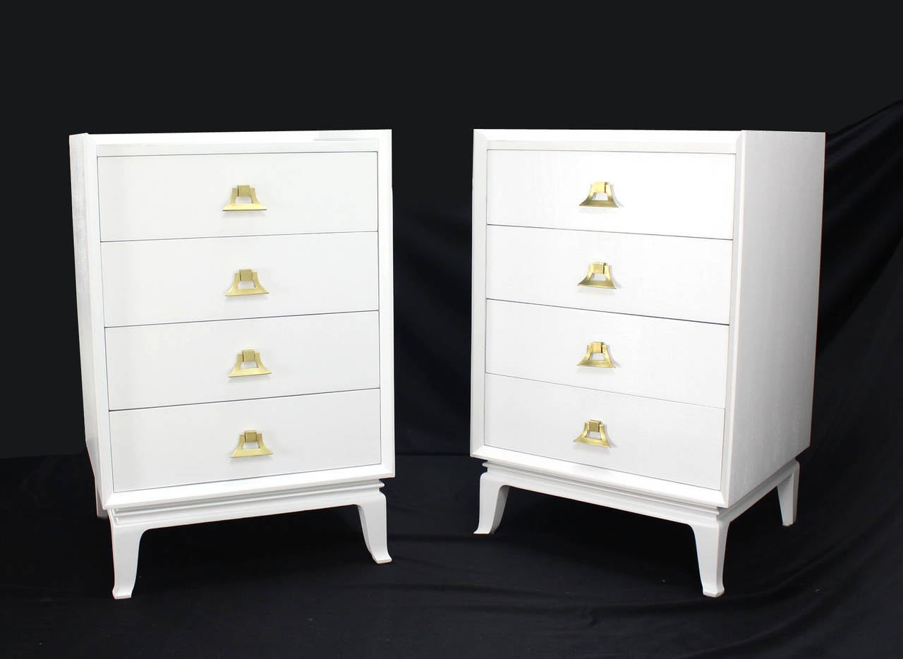 Pair Of White Lacquer Brass Pulls High Chest Stands For