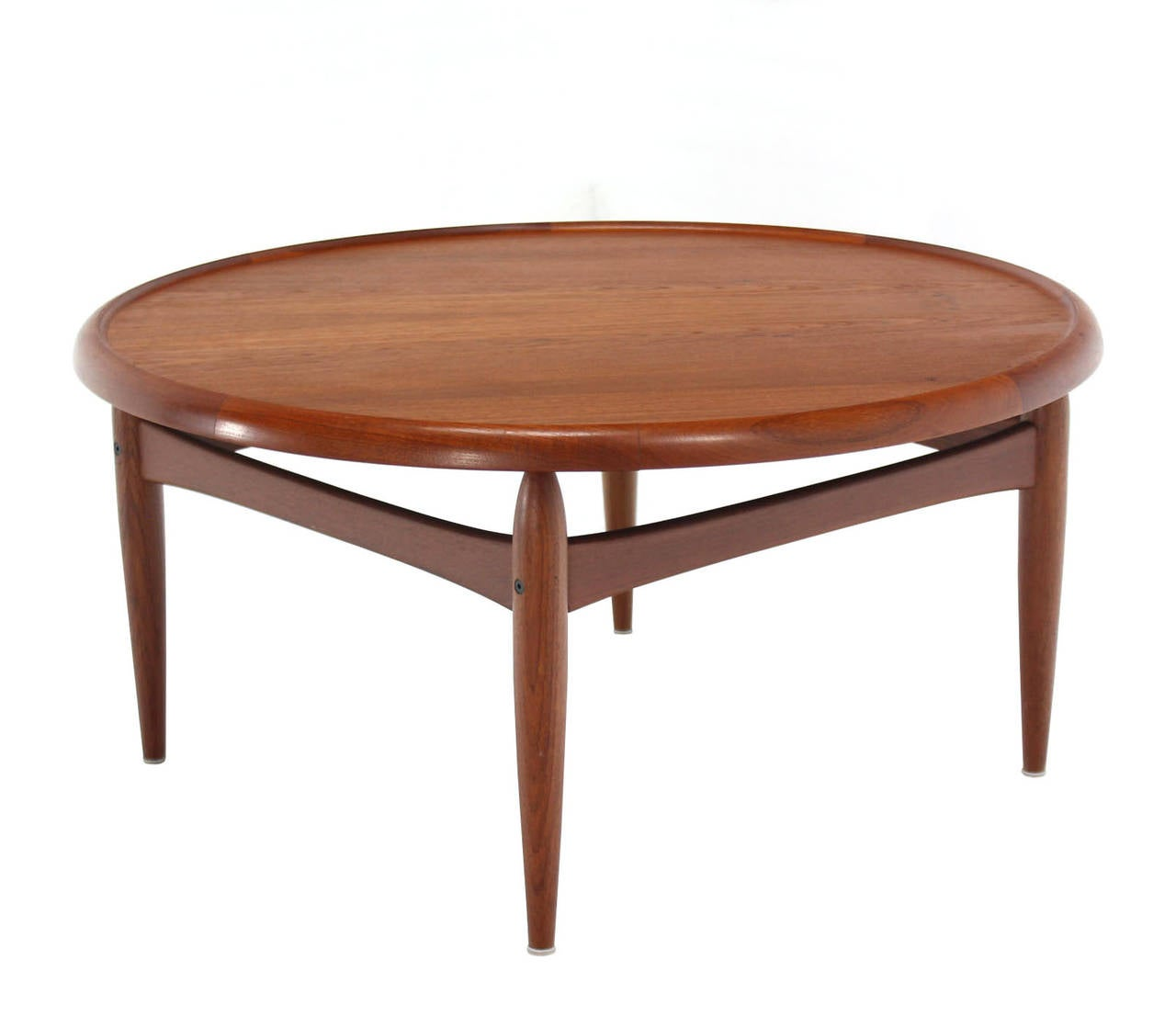 reversible flip-top danish modern round teak coffee table for sale