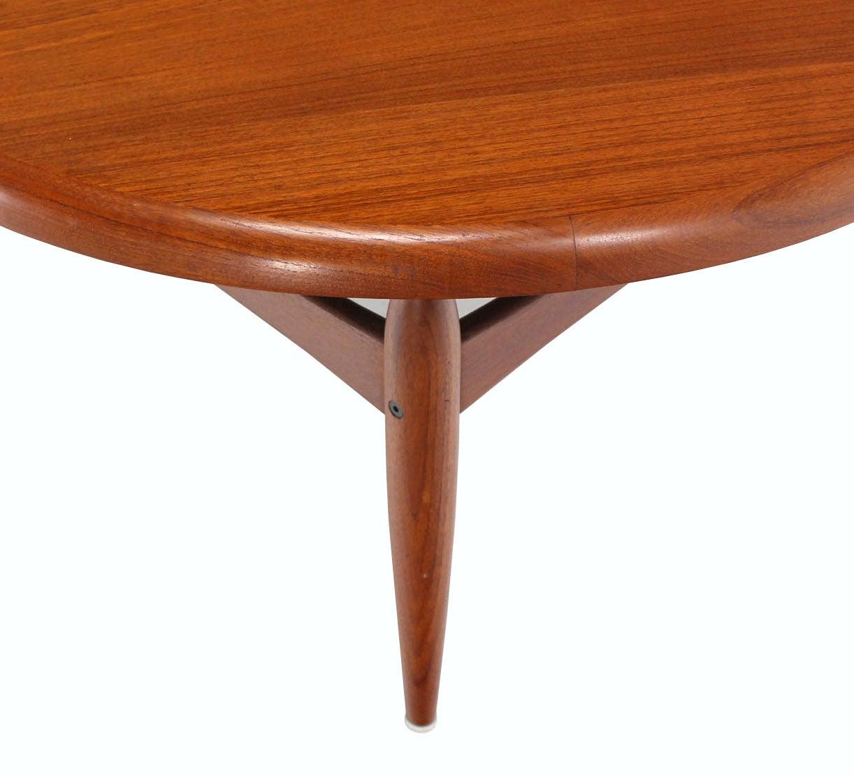 Round Teak Coffee Table: Reversible Flip-Top Danish Modern Round Teak Coffee Table