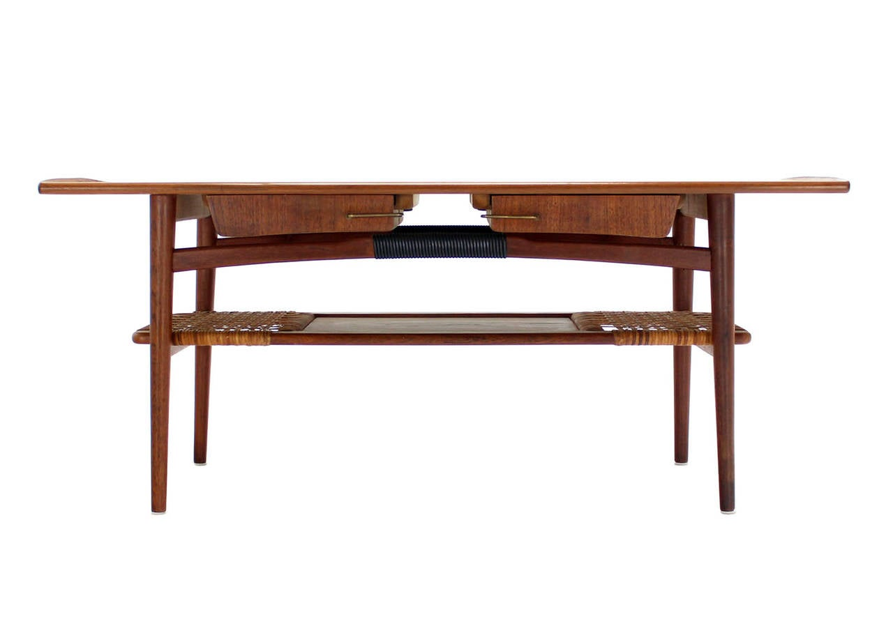 Danish Modern Teak Coffee Table Cane Shelf Rolled Edges 4 Storage Drawers For Sale At 1stdibs