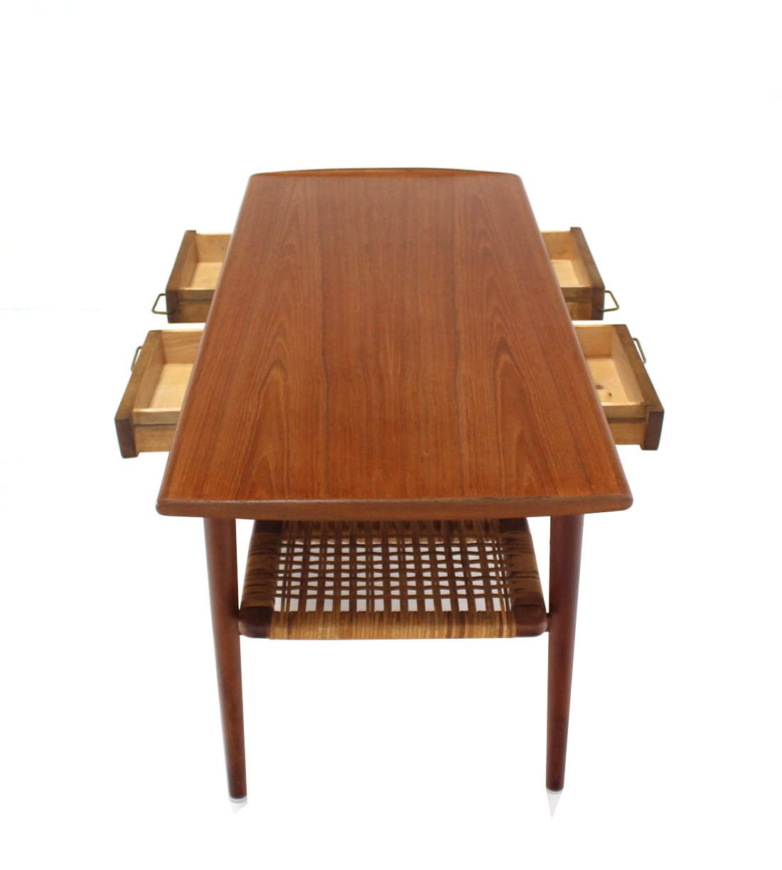 Mid Century Danish Modern Small Scale Drawer Coffee Table: Danish Modern Teak Coffee Table Cane Shelf Rolled Edges 4