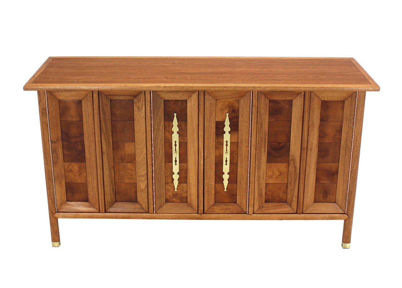 American Mid-Century Modern Dresser Credenza with Folding Doors Brass Hardware For Sale
