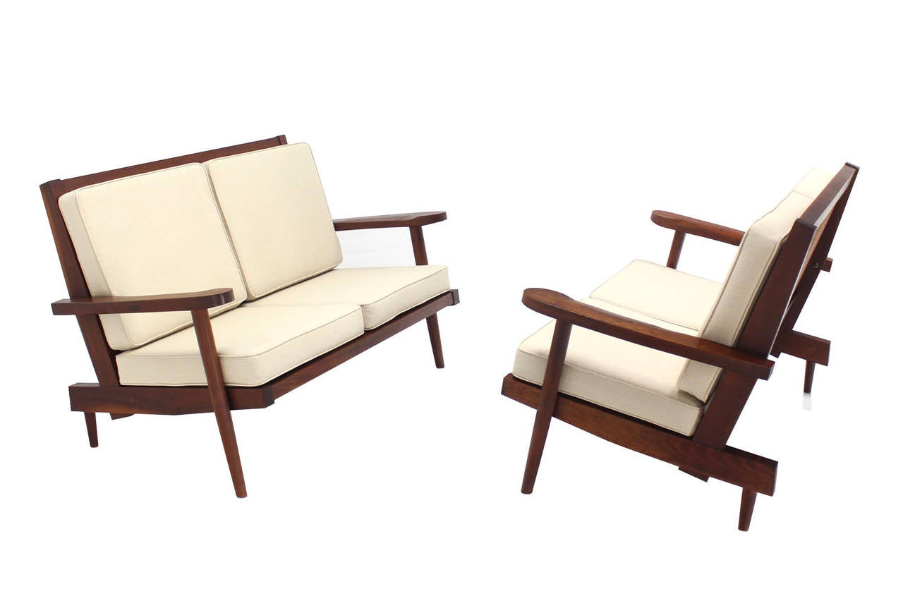 American Pair of George Nakashima Style Walnut Settees with Arms New Upholstery For Sale
