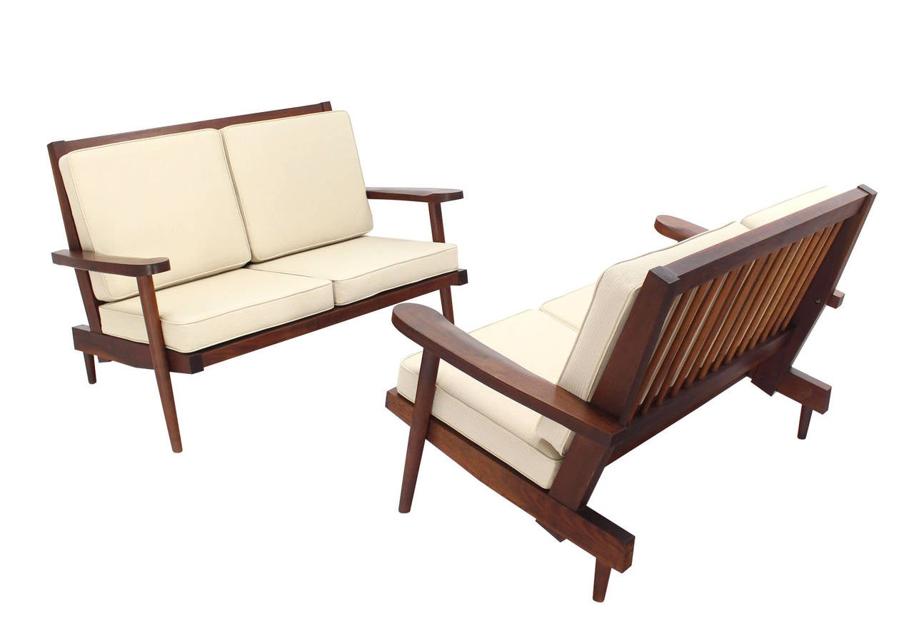 Mid-Century Modern Pair of George Nakashima Style Walnut Settees with Arms New Upholstery For Sale