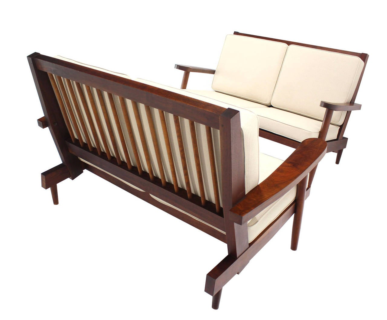 Pair of George Nakashima style loveseats or sofas with new upholstery.