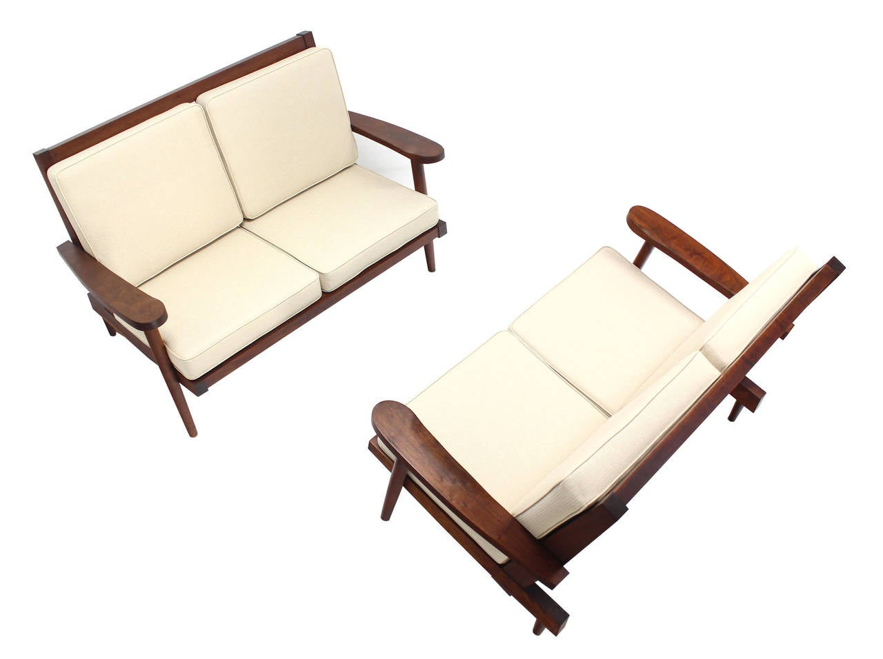 Oiled Pair of George Nakashima Style Walnut Settees with Arms New Upholstery For Sale