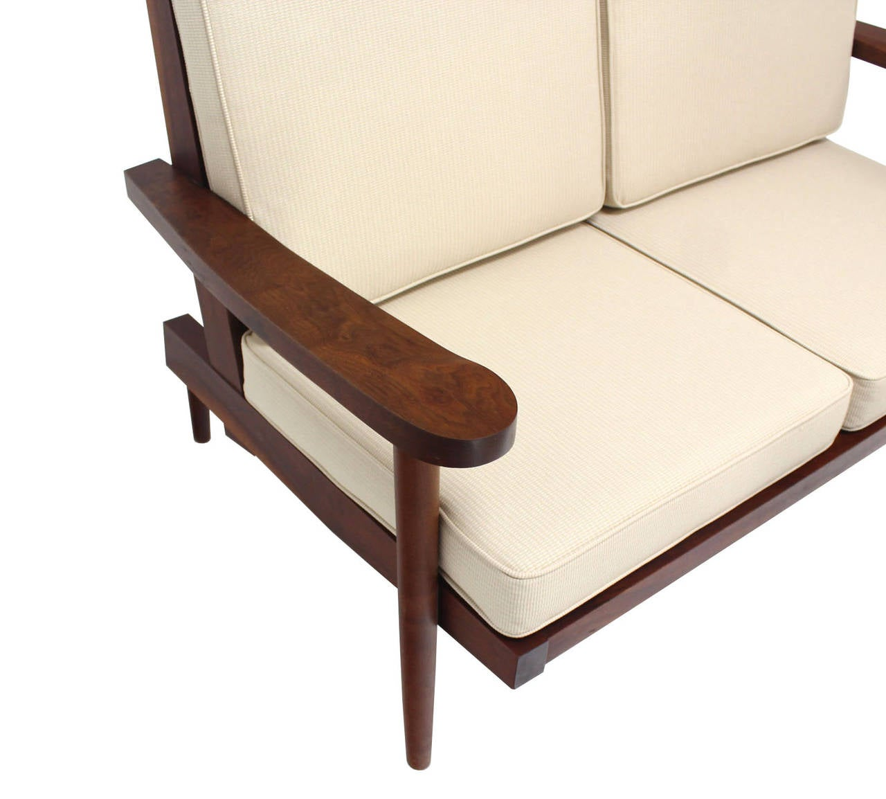 Pair of George Nakashima Style Walnut Settees with Arms New Upholstery In Excellent Condition For Sale In Blairstown, NJ