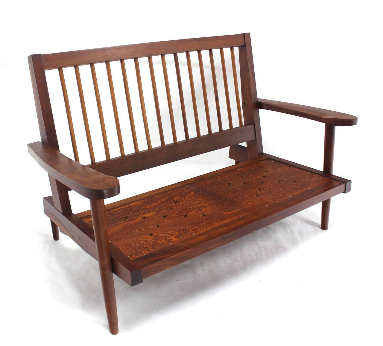 Pair of George Nakashima Style Walnut Settees with Arms New Upholstery For Sale 2
