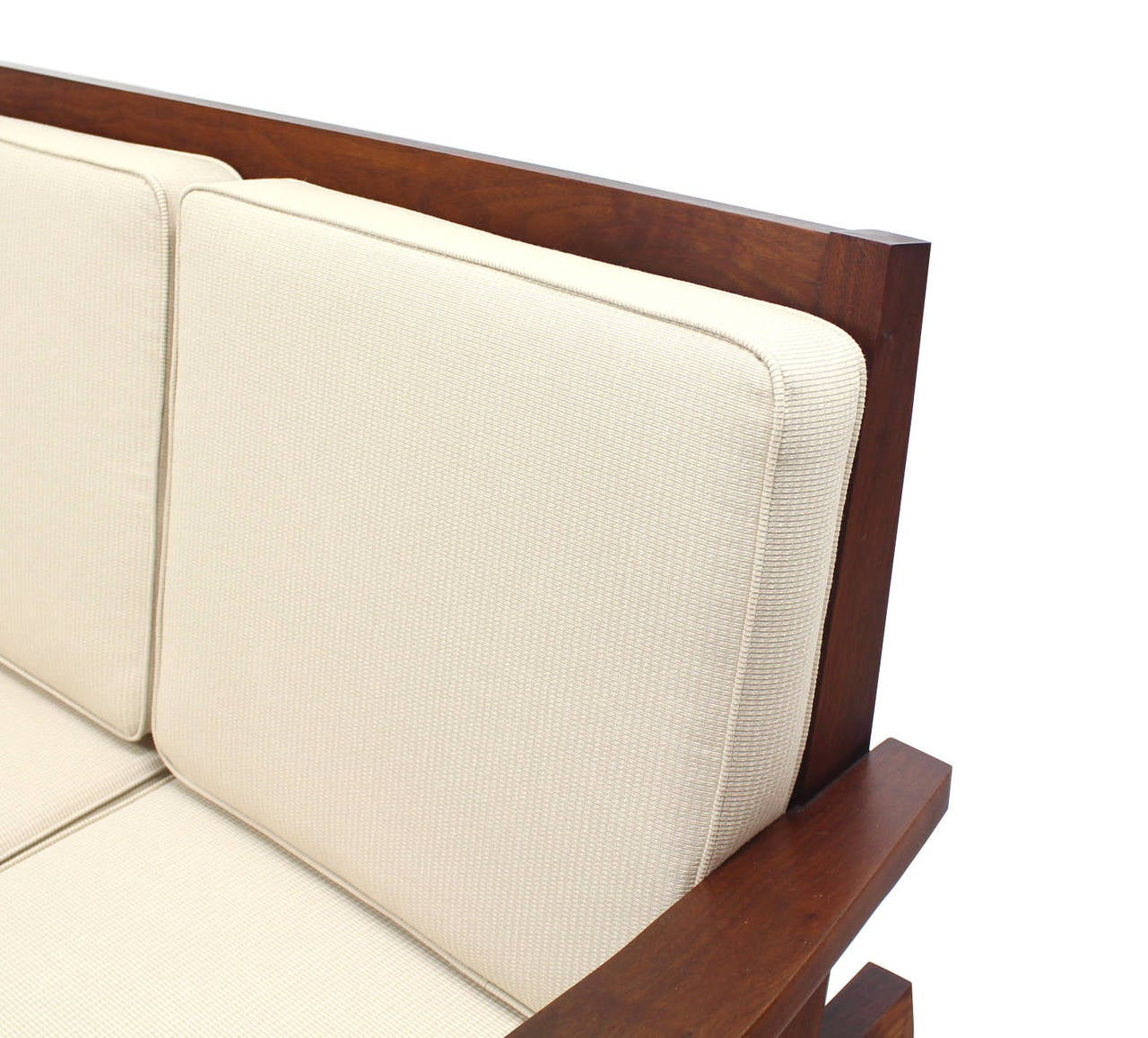 20th Century Pair of George Nakashima Style Walnut Settees with Arms New Upholstery For Sale