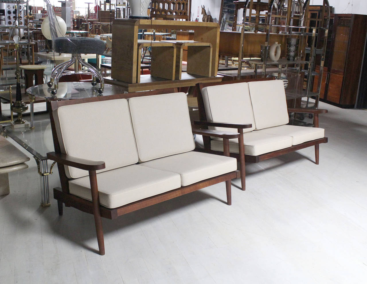 Pair of George Nakashima Style Walnut Settees with Arms New Upholstery For Sale 3
