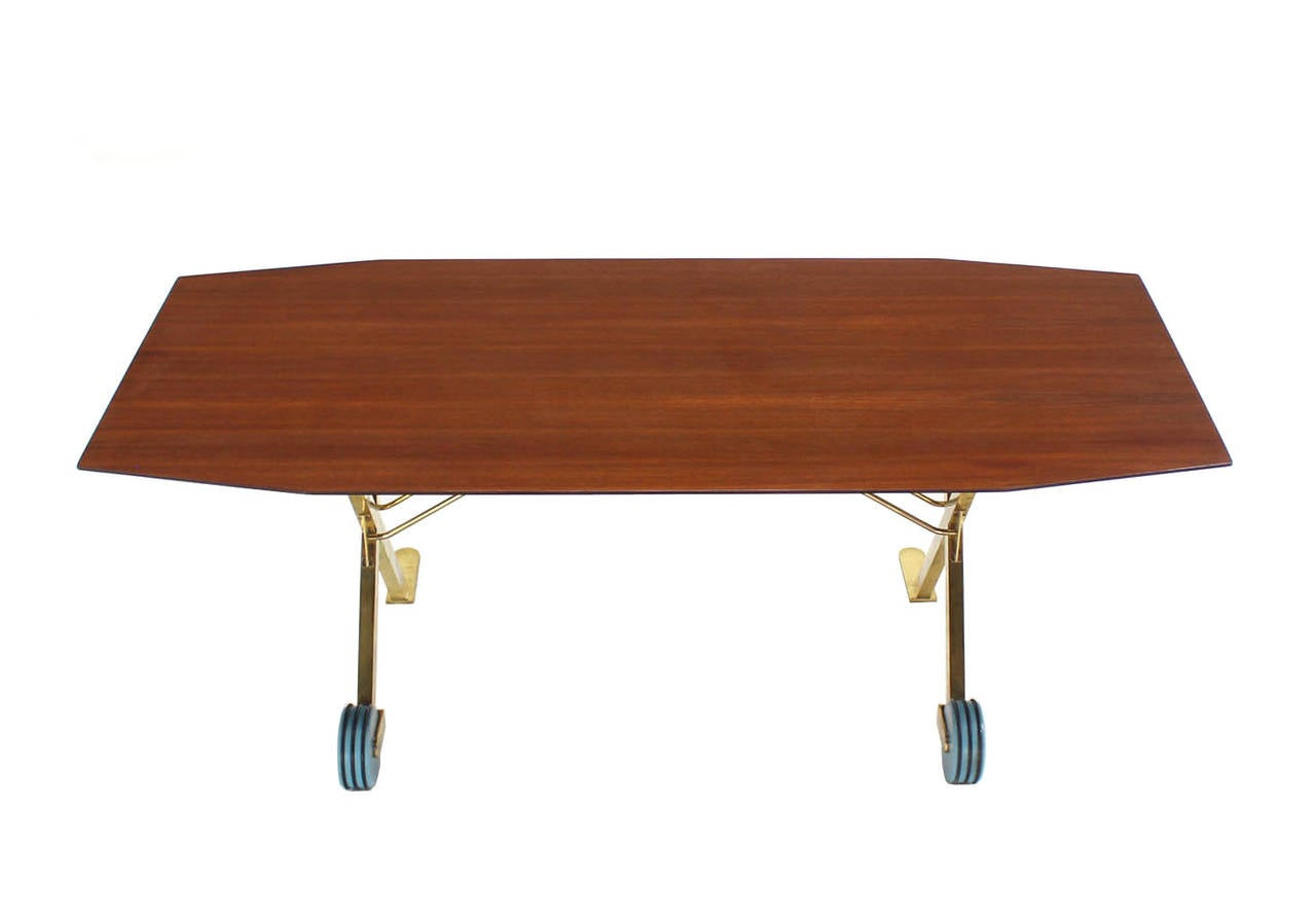 Brass X Base On Wheels Dining Serving Boat Shape Table For