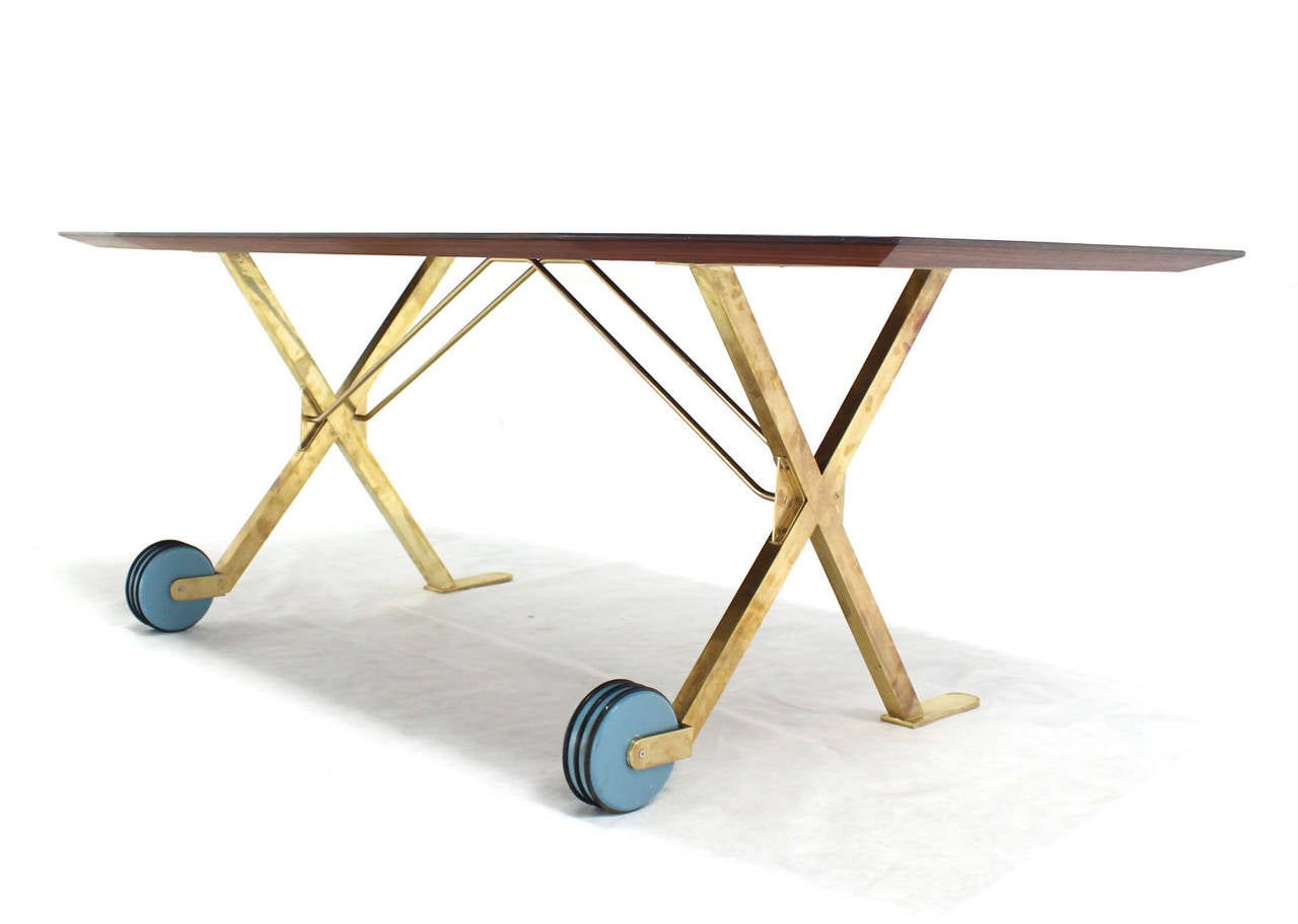 Brass X Base on Wheels Dining Serving Boat Shape Table For  : IMG5537l from www.1stdibs.com size 1280 x 912 jpeg 55kB