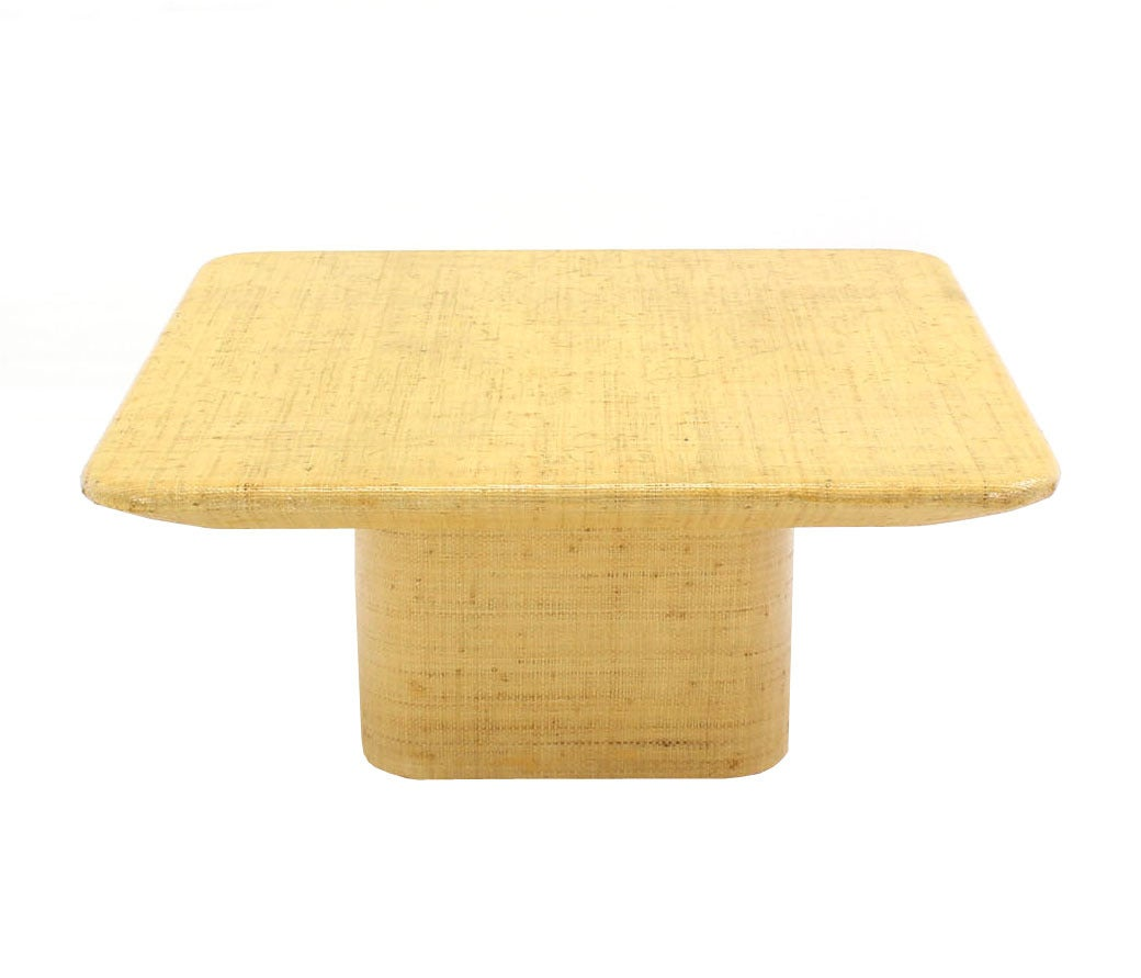 Square Cloth Covered Coffee Table Under Beveled Edge For Sale At 1stdibs
