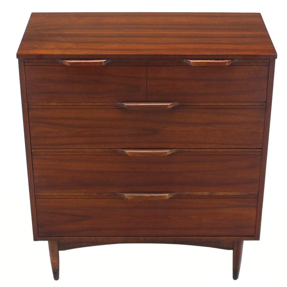 Mid century modern walnut high chest dresser for sale at 1stdibs